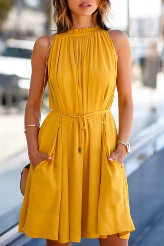 dress yellow summer fashion spring style trendy elegant yellow summer dress mustard dress sleeveless dress high neck belted dress summer dress summer outfits viva luxury blogger