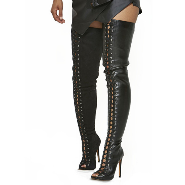 Shoes: heels, boots, thigh highs, thigh high boots, leather boots ...