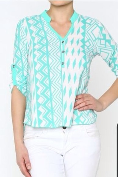 blouse aztec aztec print spring trends 2014 aqua aqua blue aztec top clothing clothes boutique women's fashion boutique