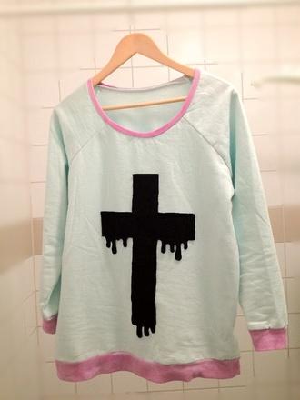 white black cross sweater pastel goth kawaii emo goth cool