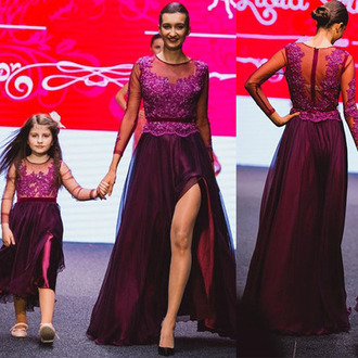 lavender purple dress burgundy dress lace dress kids fashion slit dress long sleeve dress runway