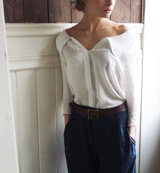 blouse clothes shirt top white summer sheer see through button up button up blouse long sleeves button up shirt belts pants blue summer outfits classy