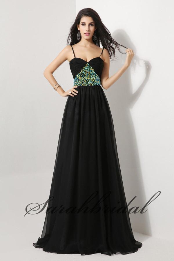 black dress evening dress long prom dress beaded dress prom dress