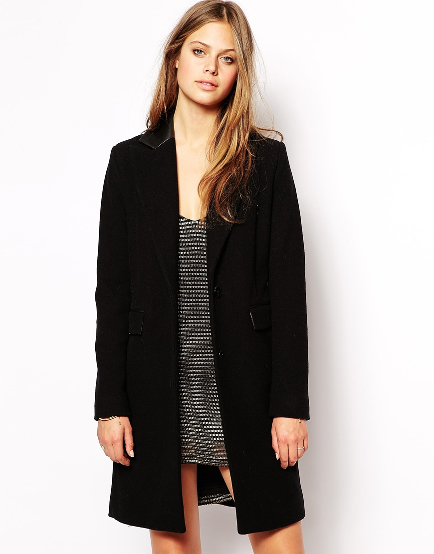 Supertrash orbi coat with leather collar detail at asos.com