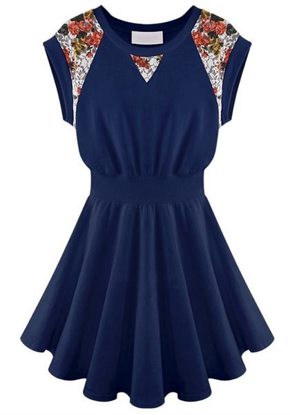 Blue Sleeveless Skater Dress with Floral Lace