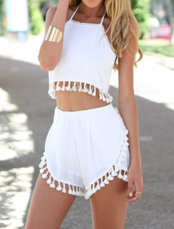 Shorts: white top, white shorts, pom pom shorts, pom poms, white ...