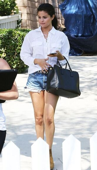 selena gomez denim white shirt bag
