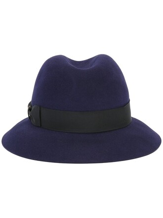 fur women hat felt hat blue