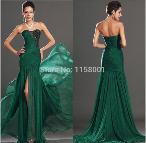 dress prow gown green dress side slit maxi dress mermaid prom dress mermaid evening dress evening dress strapless dress long prom dress long dress