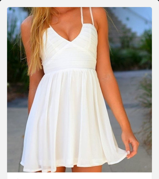 dress summer dress flowy white dress thin straps double thin strapped dress