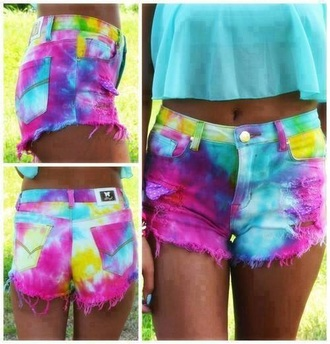 shorts tie dyed yellow