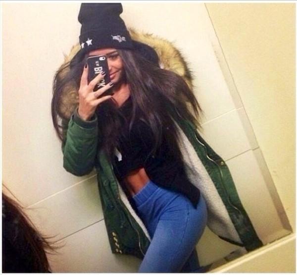 khaki parka parka green coat jacket warm
