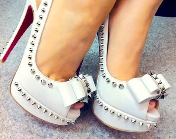 shoes spiked shoes high heels red white high heels christian louboutin silver high heels bows