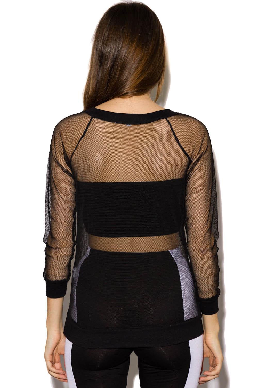 Moss mesh sweater top in black