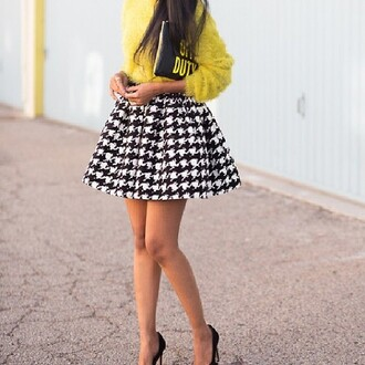 skirt black and white fashion style high high waisted skirt skater skirt