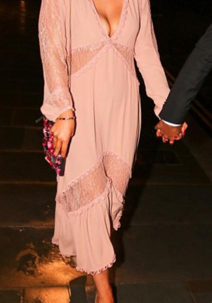 dress maxi dress pink dress long sleeve dress