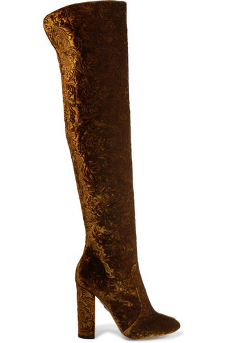 boots velvet brown shoes