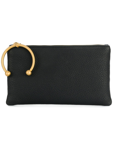 RED VALENTINO zip women clutch leather black bag