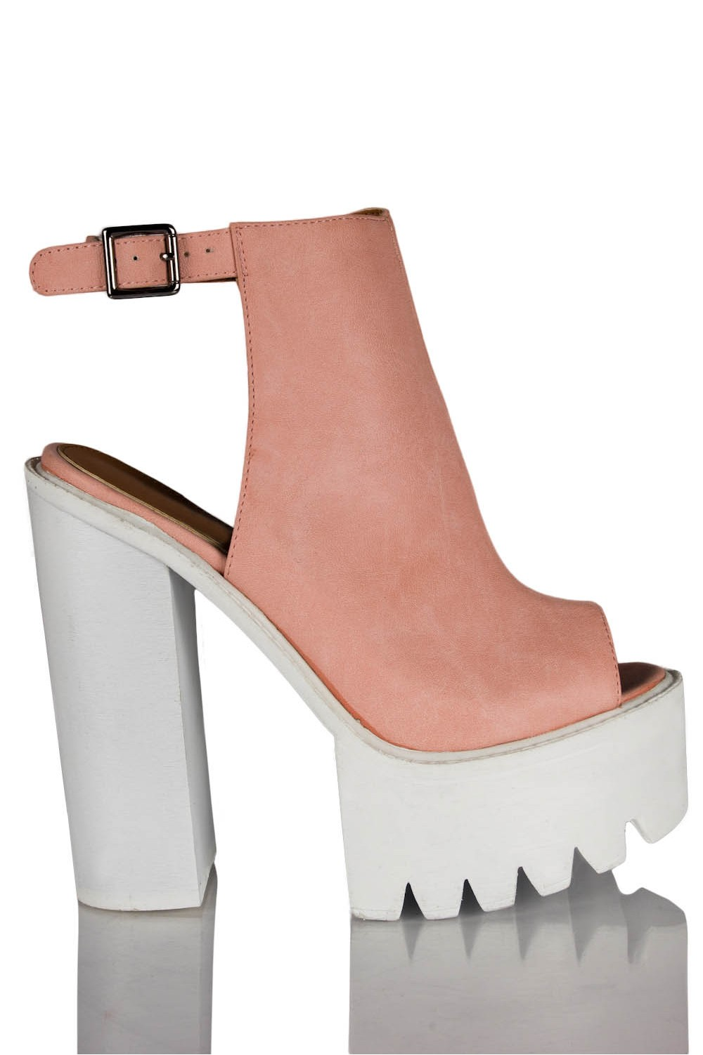 Mollie Ankle Strap Peep Toe Chunky Platform Boots In Pink