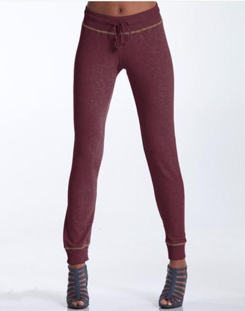pants burgundy sweatpants grey cotton