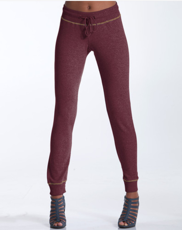 pants burgundy sweatpants grey cotton