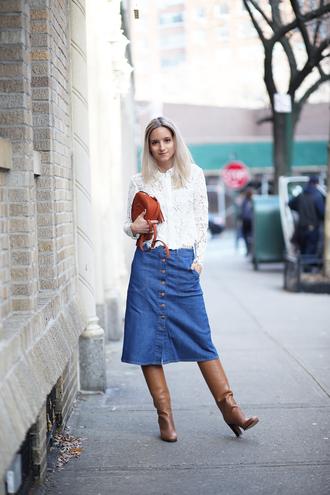 the fashion guitar blogger bag denim skirt brown leather boots white shirt denim slit skirt midi ski brown boots high heels boots brown bag