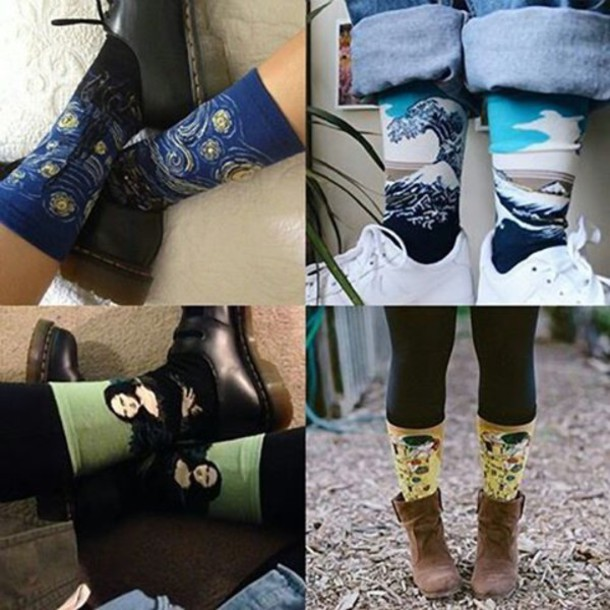 Socks mens socks unissex artsy socks art socks aesthetic tumblr tumblr style grunge ...