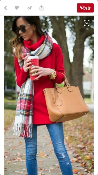 sweater red long jeans blue scarf bag shades glasses hair ombre fall outfits tan pumps comfy cozy chic fashion watch gold leaves street style long sleeves plaid starbucks coffee coffee pointed toe nude pumps jewelry classy pointed toe pumps