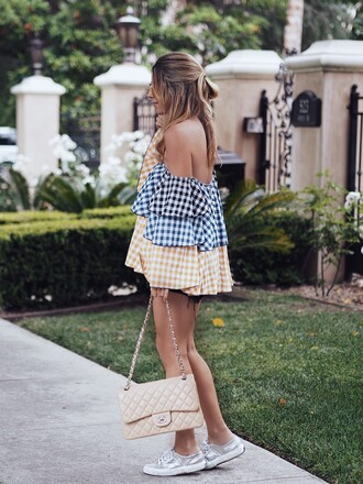 top tumblr ruffled top ruffle off the shoulder off the shoulder top gingham sneakers silver sneakers metallic metallic shoes bag nude bag chain bag