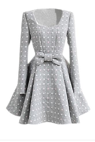 dress pink white grey dress polka dots