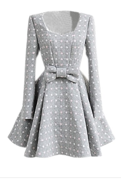 dress grey dress pink white polka dots