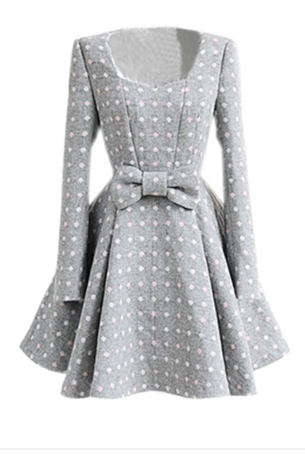 dress pink white grey dress polka dots