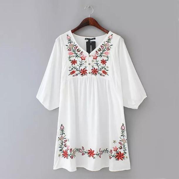 02d1fcad42902 dress brenda-shop mini white embroidered boho bohemian vintage loose summer  women floral flowers cute