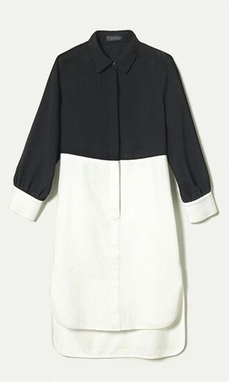 shirt shirt dress black and white oversized shirt colorblock