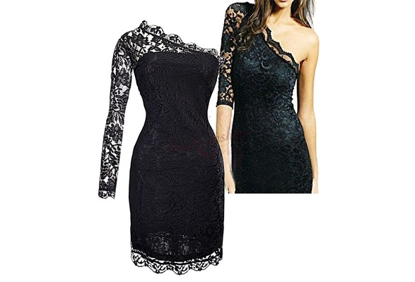Sexy One shoulder Lace Trim Evening Dresses Cocktail Party Homecoming