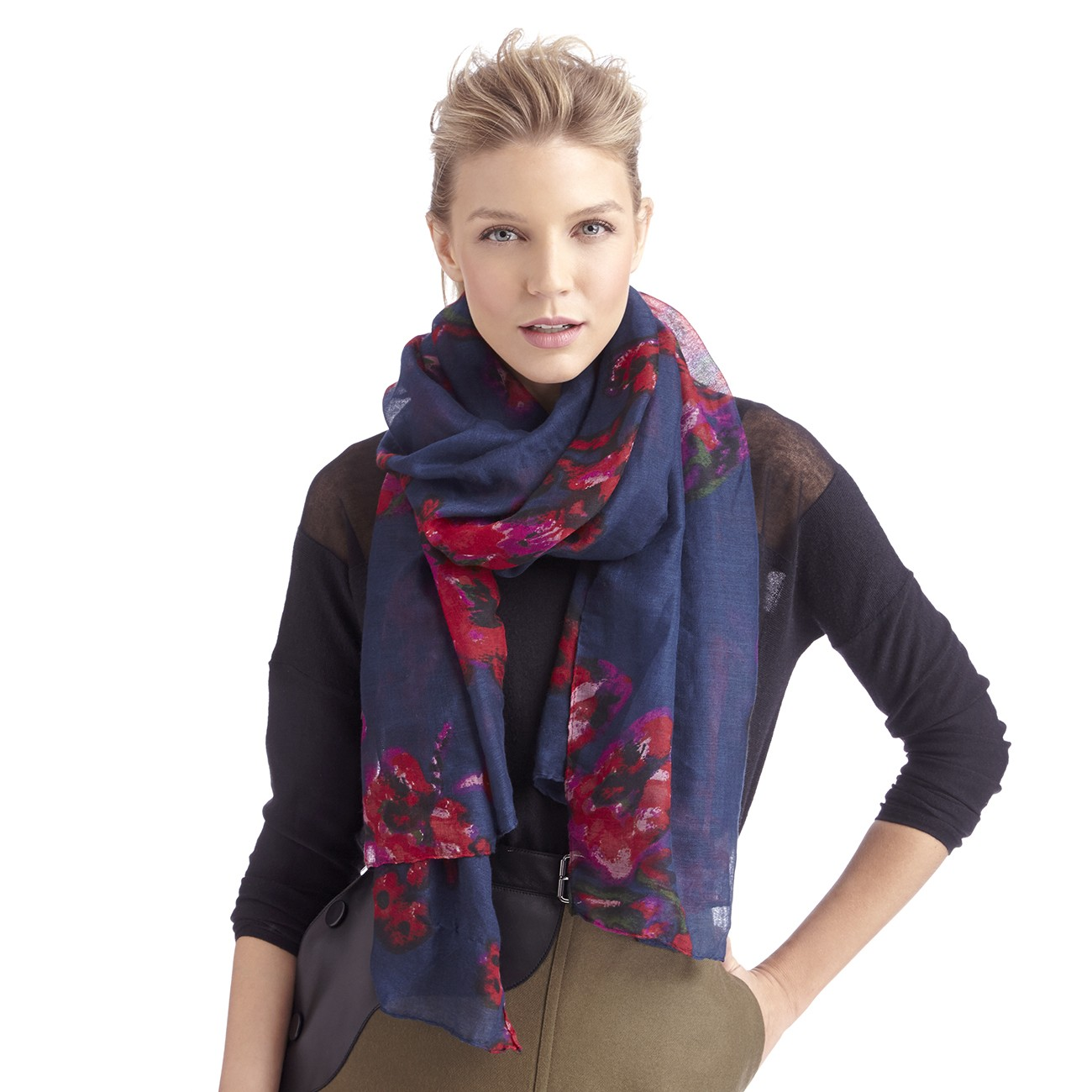 Floral abstract printed scarf