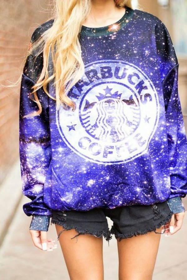 sweater galaxy print beautiful sweater cool winter sweater starbucks galaxy starbucks coffee galaxy top shirt