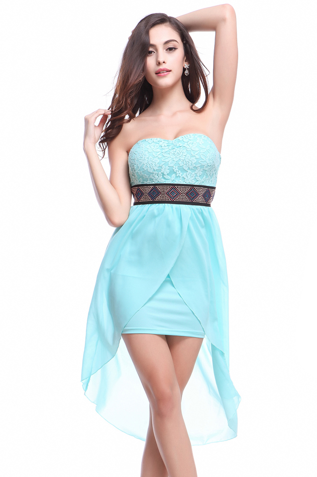 Newest Blue Strapless Chiffon Clubwear Dress Wholesale From lover-life.com