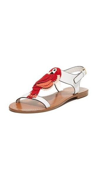 sandals flat sandals white red shoes