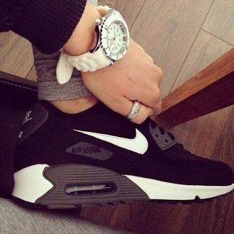 shoes nike air nike air max sneakers casual black grey white