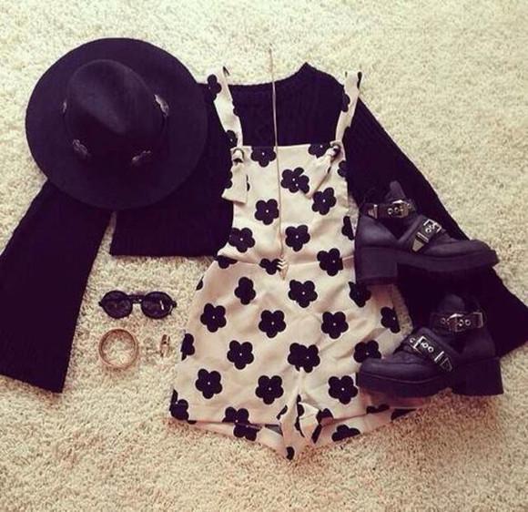 blake lively romper black and white overalls shoes dress floral black hipster hat