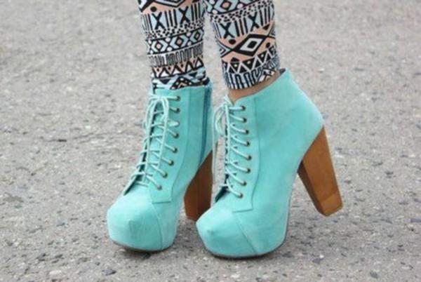 shoes aqua high heels boots lace up wooden cute