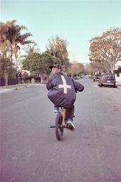 jacket,tyler the creator,odd future,cross,upside down cross,menswear,urban menswear