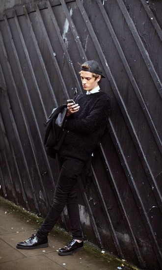 phone black cap snapback pullover sweater jeans shoes derbies oxfords style lookbook menswear hipster menswear unisex