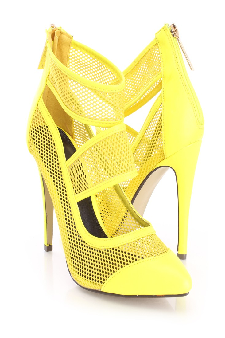 Yellow netted strappy single sole heels faux leather