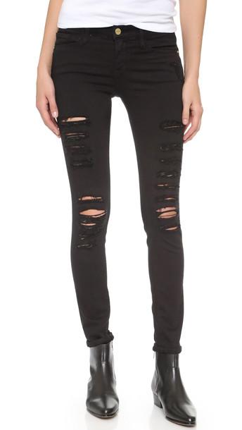 Frame Le Color Rip Skinny Jeans - Film Noir