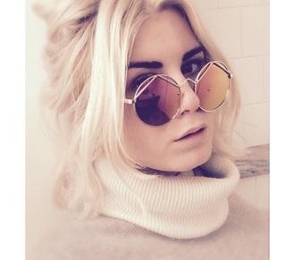 sunglasses round sunglasses turtleneck