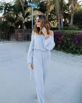 jumpsuit tumblr off the shoulder blue jumpsuit light blue long sleeves aviator sunglasses