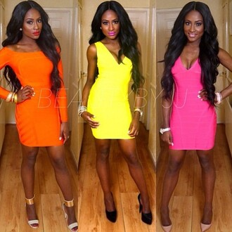 dress sexy beauty by jj pink dress yellow dress orange dress lookbook dark skin simple dress