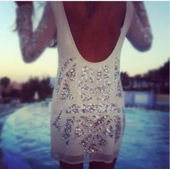dress white dress sequin dress